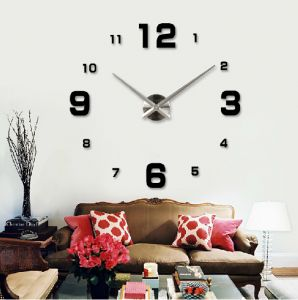 Large Diy Quartz 3d Wall Clock Acrylic Sticker Wall Clock   Black Part 71