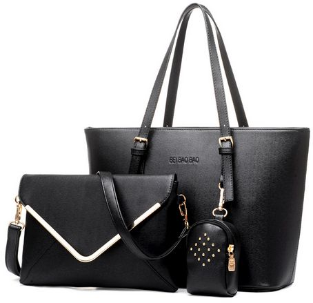 Three Piece Women Handbag Bag Shoulder Messenger Black Wb59