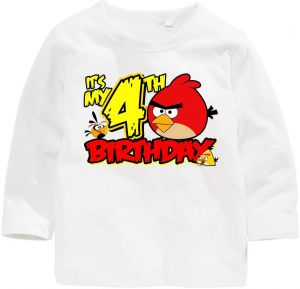 Angry Bird With Its My 4Th Birthday Long Sleeved T Shirt