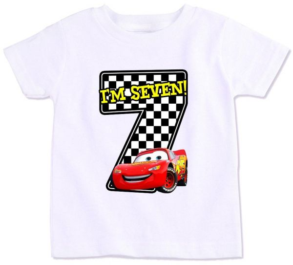Disney Pixar Cars Lightning Mcqueen With I M Seven Birthday T-Shirt ... b87af41f3