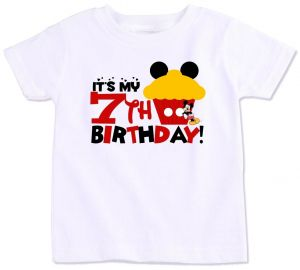 Mickey Mouse Cupcake With Its My 7Th Birthday T Shirt