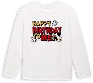 Mickey Mouse With Happy Birthday To Me Long Sleeved T Shirt 6 7 Years