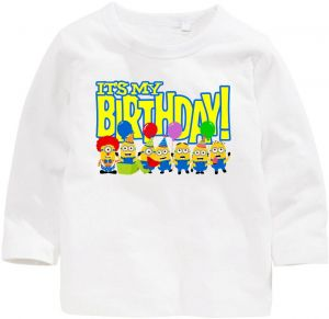 Minions With Its My Birthday Long Sleeve T Shirt 4 Years