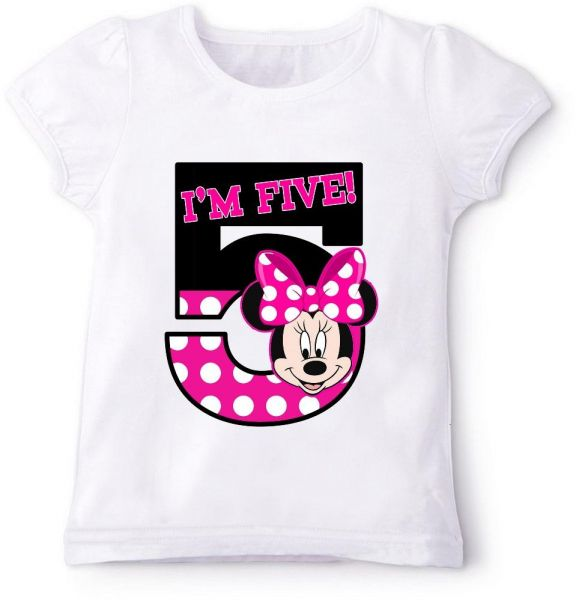 Minnie Mouse In Pink IM Five Birthday T Shirt