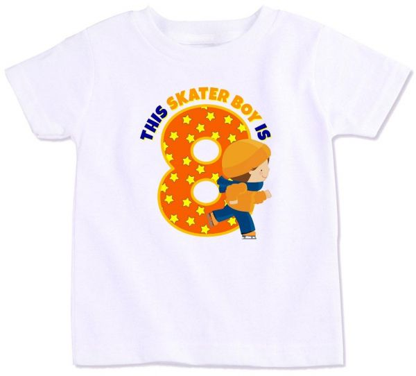 This Skater Boy Is 8 Birthday T Shirt