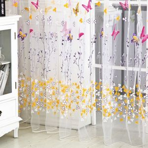 200x100cm Colorful Butterlfly Printed Curtain Organdy For Door And