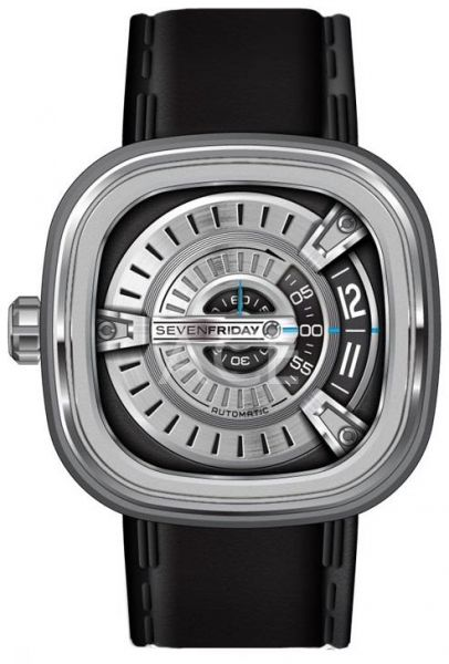SevenFriday Men's Silver Dial Leather Band Automatic Watch - M1/01