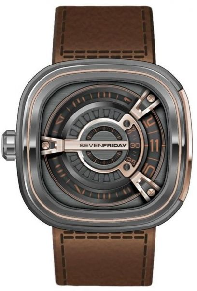 Buy sevenfriday men 39 s dark gray dial leather band automatic watch m2 02 watches uae souq for Sevenfriday watches