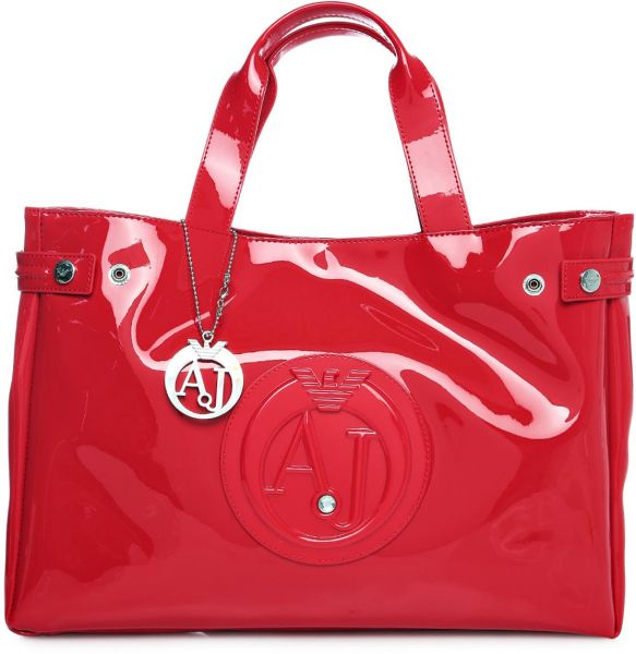 e54188d996a Armani Jeans 05291 55 Patent Large Tote Bag for Women - Red   Souq - UAE