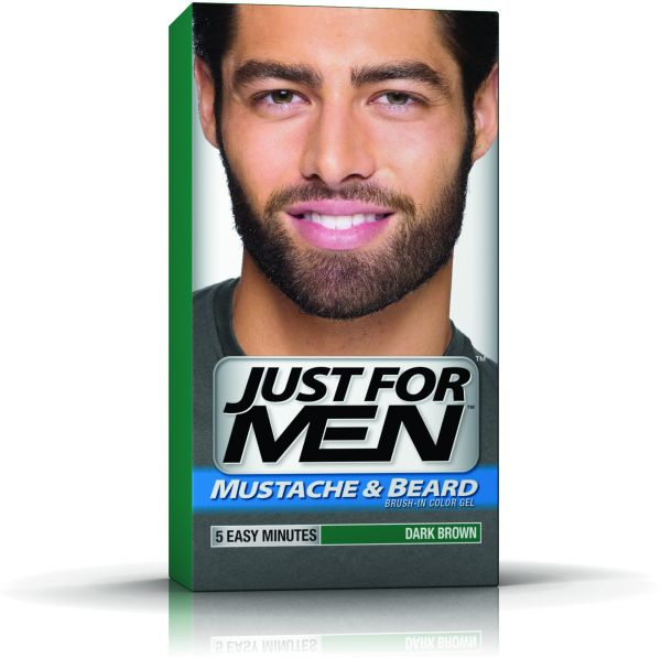 Just for Men Mustache & Beard Brush-In Color Gel - Dark Brown ...