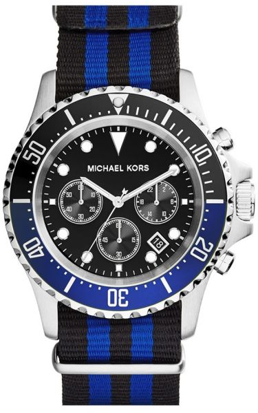 1b805a0daf05 Michael Kors Everest Men s Black Dial Grosgrain Fabric Band Watch ...