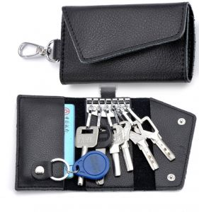 Fashion Genuine Leather Key Wallets Creative Card Package Multi-function Bags For Keys Holder Black
