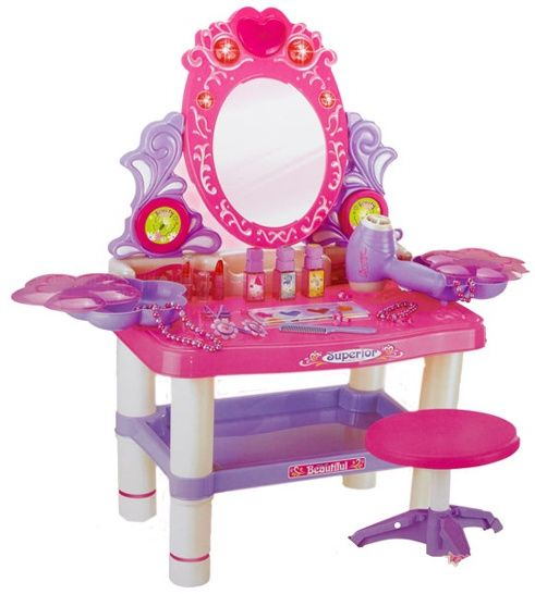 Beauty Dresser Vanity Makeup Play Set Girls Dressing Table With Mirror And  Music