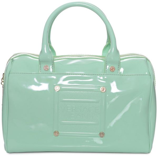 Versace E1vfbba4 Top Handle Bag For Women Canvas And Pu Leather Green
