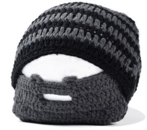 Mens Handmade Knitted Beard Hat Mustache Bicycle Mask Ski Cap Warm Knight  Crochet Beard Mask