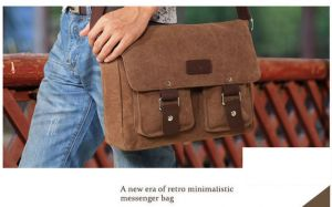 e63486c533 Korean version Casual High-quality men canvas Shoulder bag Messenger bag  postman bag BY-46A Brown