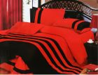 6 pcs King Size Bedding Set- Black and Red (220 x 240) (Bedding Set & Component)