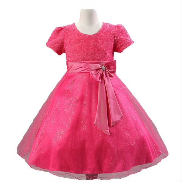 c49eb69ee07a Rose Color Pageant Flower Girls Princess Dress Kids Party Wedding ...
