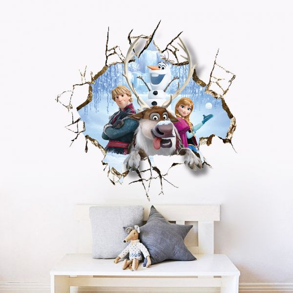 DIY 3D Through Walls Poster Anna Frozen Wall Stickers Home Decor For Kids  Room