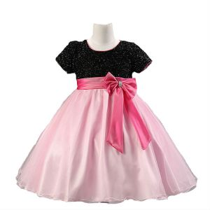 acc48dc0911d Black And Pink Pageant Flower Girls Princes Dress Kids Party Wedding ...