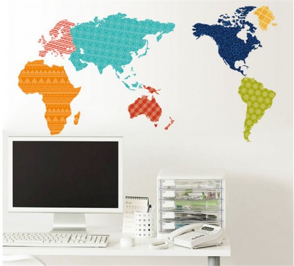 Creative colorful world map tv wall sofa wall door stickers glass creative colorful world map tv wall sofa wall door stickers glass decal wall stickers home decor gumiabroncs Gallery