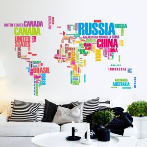 Sale on world map buy world map online at best price in dubai colorful letters world map wall stickers living room home decorations creative decal mural wall art gumiabroncs Image collections
