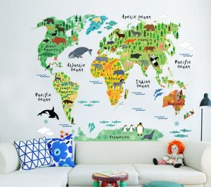 World map zooyooicanvasartthe decal guru uae souq removable wall sticker cartoon world map gumiabroncs Images