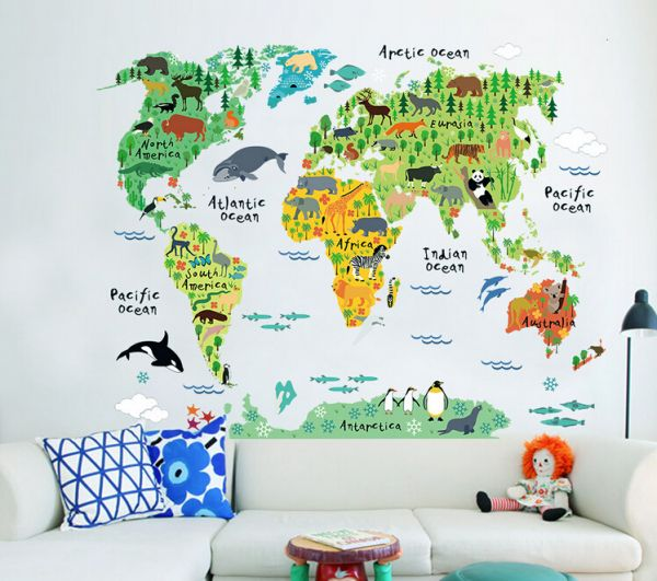 Removable wall sticker cartoon world map price review and buy removable wall sticker cartoon world map gumiabroncs Gallery