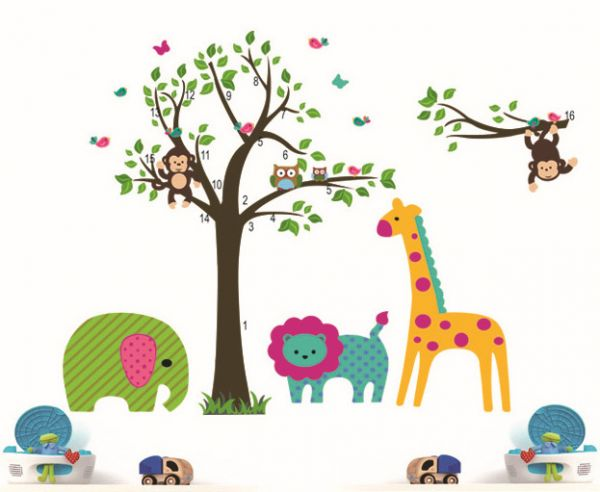 Tree wall stickers for kids room decoration diy home for Animal mural for kids