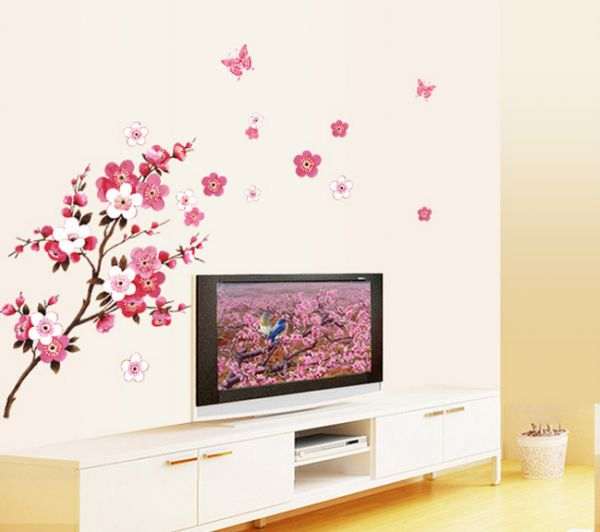 Butterfly Cherry Blossom Flower Tree Branch Wall Decals Decor Kids Baby  Stickers