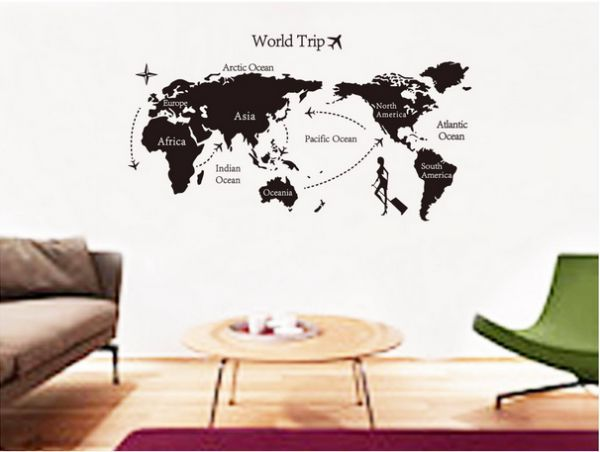 World map vinyl removable wall sticker home decor wallpaper world map vinyl removable wall sticker home decor wallpaper creative wall decals gumiabroncs Gallery