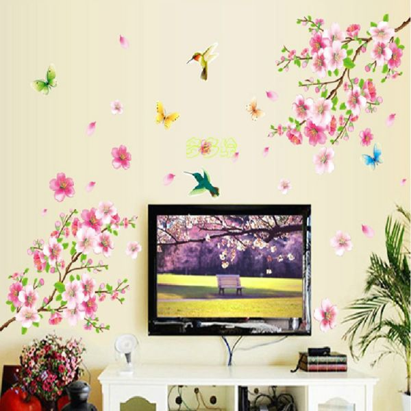 peach blossom butterfly flowers wall sticker living room bedroom bed