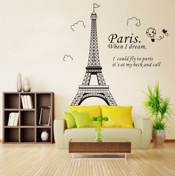 Paris Eiffel Tower Diy Wall Stickers Wallpaperart Decor Mural Room Decal