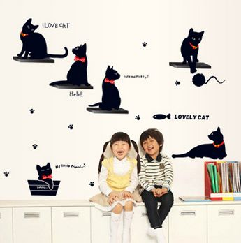 Souq   Lovely 6 Black Cats Stickers Living Room Decor Tv Wall Decor ...