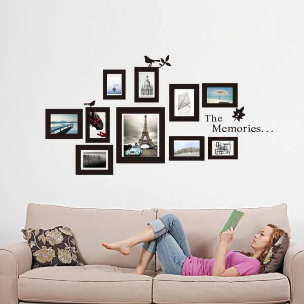 Amazing Multi Photo Frame Wallpaper Wall Mural Decals Photoframe Bird Stickers On A  Wall Paper Picture Part 24
