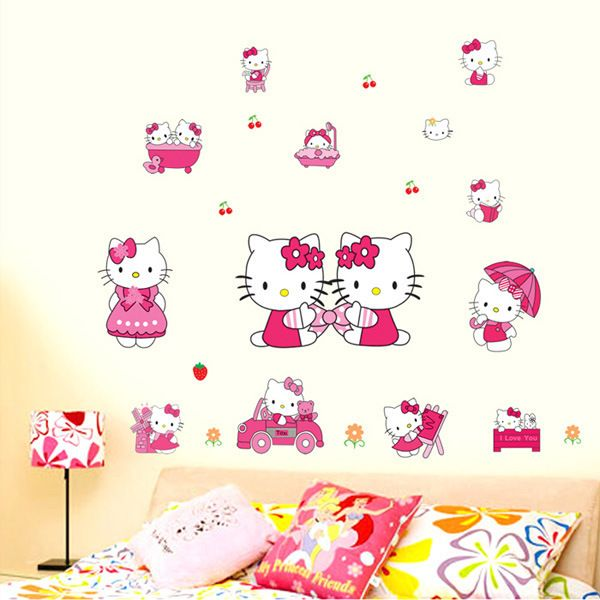 Childrens Room Wall Stickers Removable Hello Kitty Cute Cartoon Cat Living Room  Bedroom Home Decor Part 76