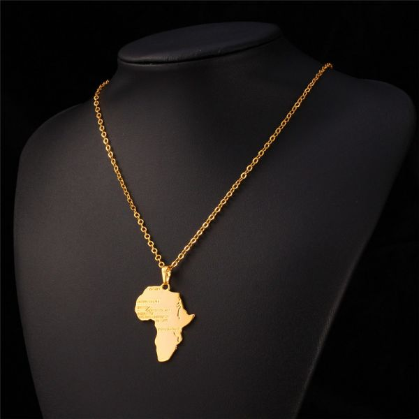 Africa Map 18K Gold Plated Necklaces Pendants Women Men Jewelry