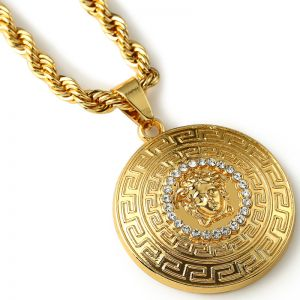 Fashion 18k Gold Men Jewelry medusa head pattern necklace mens chain