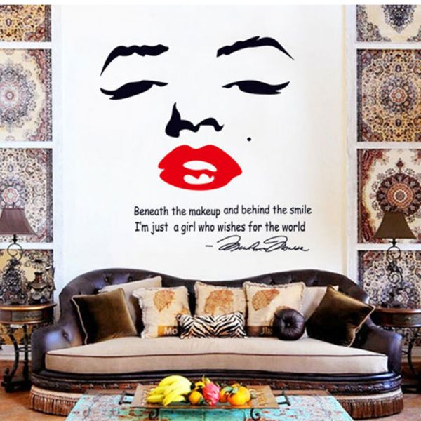 Superb Marilyn Monroe Quote Red Lips Vinyl Wall Stickers Art Mural Home Decor  Wallpaper