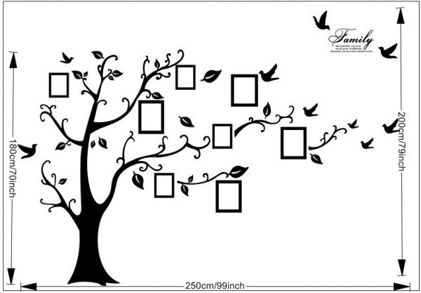 Wall Stickers Home Decor Family Picture Photo Frame Tree Wall Art Stickers  Pvc Decals Home Decor