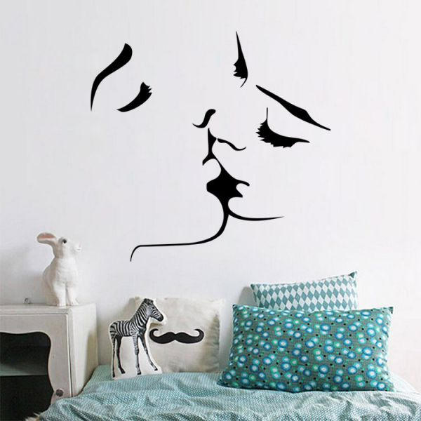 Lovers Kiss 3D Wall Sticker Home Decor Family Wall Decal Lovers Bedroom  Living Room Wallpaper