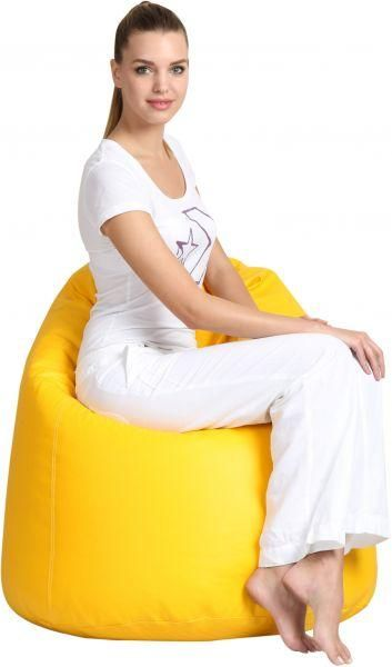 Comfy Pvc Leather Large Yellow Bean Bag