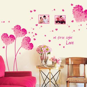 Pink Tone Love Heart Wall Sticker Living Room Bedroom Home