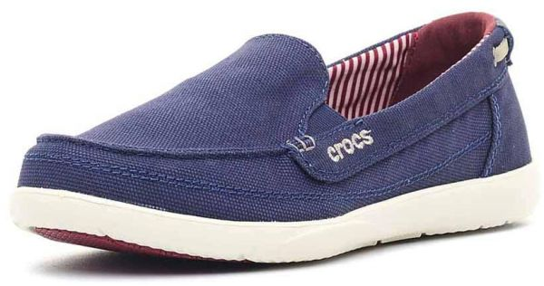 93cefe4a464 Crocs 14391 Walu Canvas Loafers For Women - Nautical Navy And Stucco ...