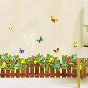 Colorful Butterfly And Flower Fence 3D Wall Sticker Home Decor Living ...