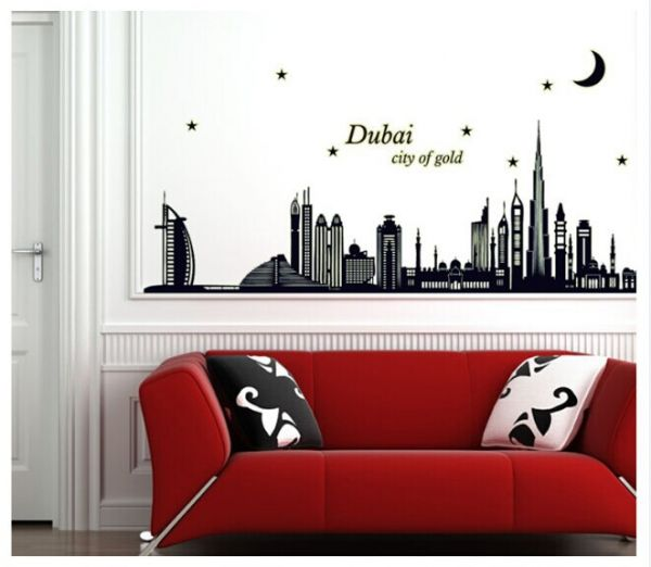 dubai silhouette 3d wall sticker home decor luminous stickers living