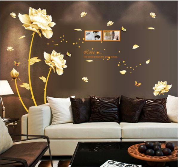 golden flower 3d wall sticker home decor beauty tulip wall