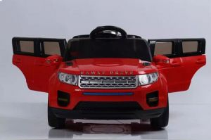 reliance 12v range rover style kids ride on car red with power steering and trolley