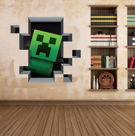 Minecraft Creeper 3D Wall Decal/Cling Home Decor