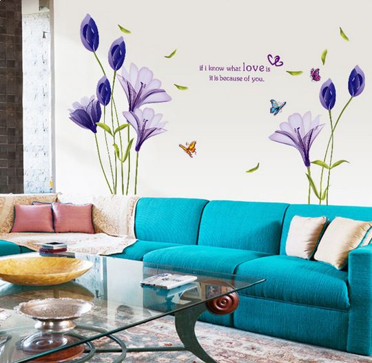Purple Pollen Removable Wall Art Decal Sticker Diy Home: Fashion Purple Tulips Flowers Wall Stickers For Living